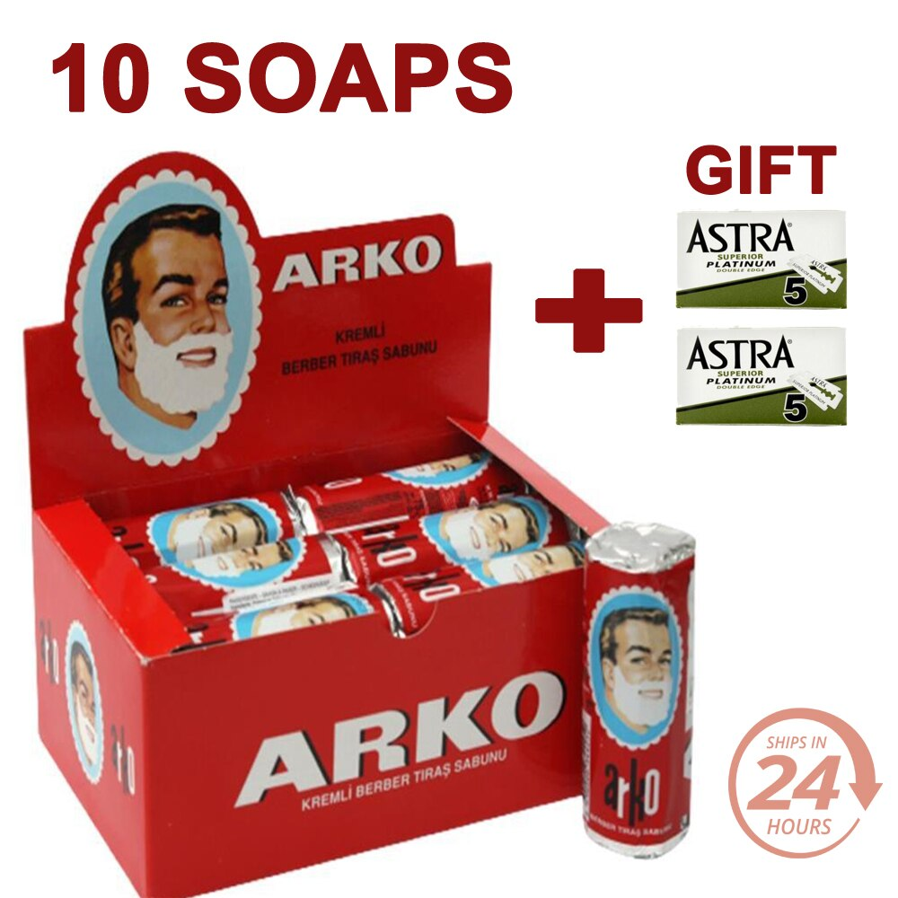 10 Pieces Arko Shaving Barber Soap Creamy Lather Foam Safety Razor Brush Gift Men  jabón de afeitar мыло для бритья סבון גילוח