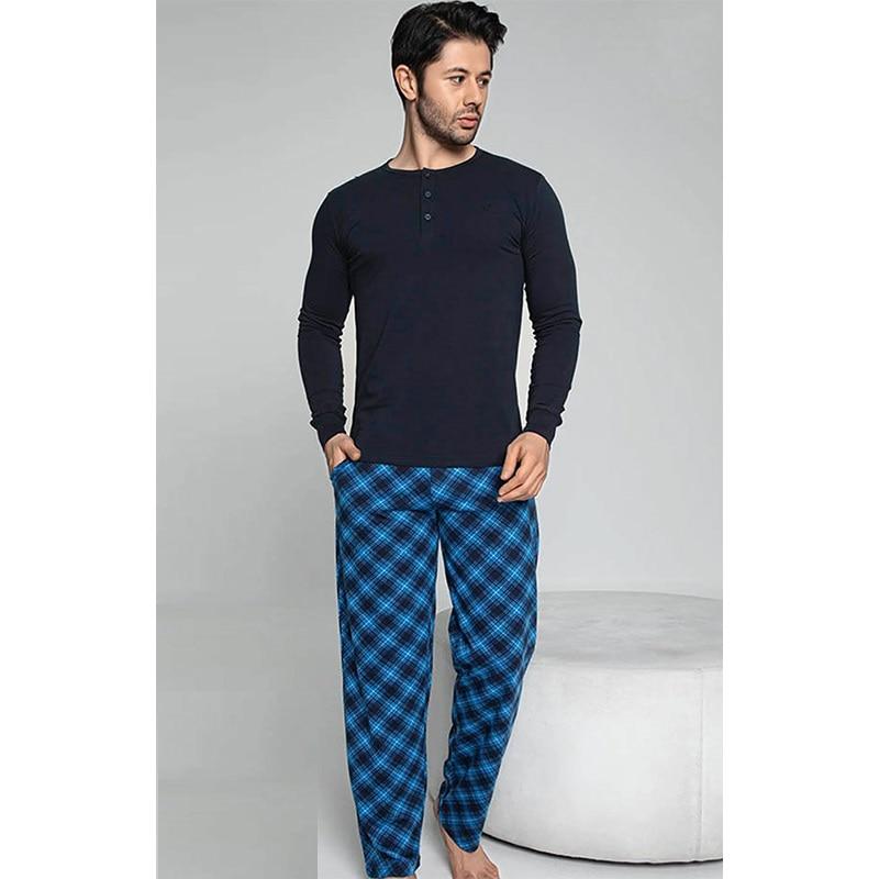 New 2021 Men Pajamas Long Sleeve Male Pajamas Set Men Pure Full Cotton Pajamas Pajamas Suit Homewear For Men Elastic Unit bee Spring Autumn Winter Summer Slim Comfortable Different Multicolor Casual