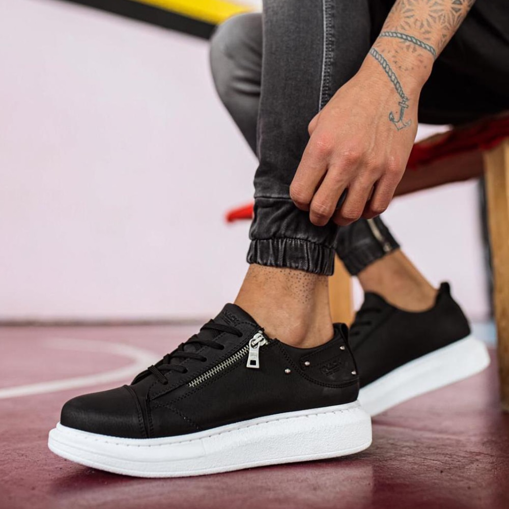 Knack Casual Men's Sneakers Black Color (White Sole) Stitched Comfortable High Sole Patterned Artificial Leather Zippered Lace-up Closure Fashion Trend Classic Hiking Summer Spring Season Designer Sneakers Quality 555