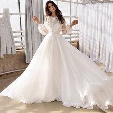 Bateau Long Puff Sleeves Chiffon Wedding Dress Simple Crisscross Backless Beach Bridesmaid Bridal Go