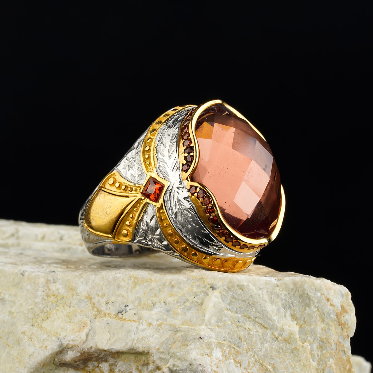 Custom Jewelry High-quality 925 Sterling Silver Zultanite stone ring Zircon in a luxurious way for men with gift Dating ring