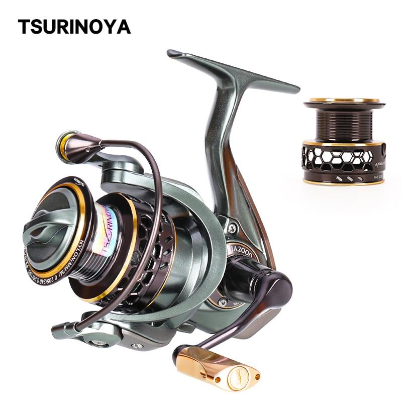 TSURINOYA 2 Spool Spinning Fishing Reel JAGUAR 1000 2000 3000 185G 6KG Max Carbon Drag Carp Saltwater Reel Bass Pike Wheel