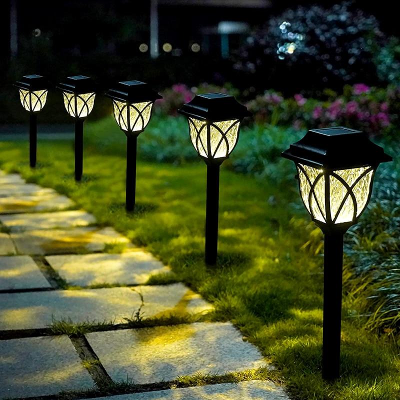 Уличные светодиодсветодиодный фонари для дорожек на солнечной батарее, водонепроницаемые Ландшафтные светильники для газона, патио, двора...