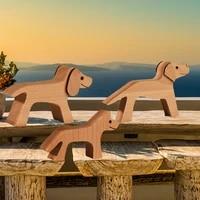 Figurines decoratives en bois pour la maison  ornement de Table miniature pour salon en bois  Sculpture artisanale de chien et chiot  cadeau