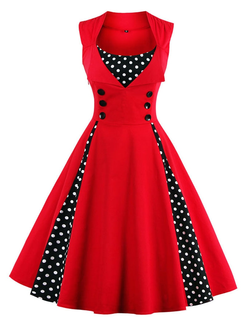 S-4XL Retro Vintage para mujer, vestido Rockabilly de lunares, Pin Up, elegante, Túnica informal para fiesta de verano, 50s y 60s