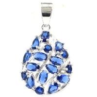 46x27mm anniversary flowers silver pendant for women created tanzanite dating wedding fine jewelry