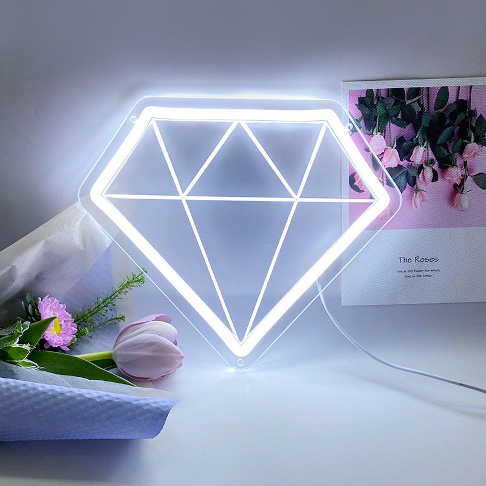 علامة النيون الماس ، علامة ضوء النيون ، غرفة نوم علامة النيون ، إضاءة نيون ، جدار الفن النيون
