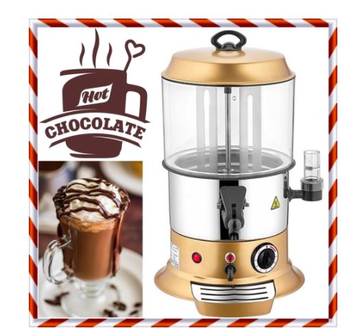 10 liter capacity hot chocolate maker machine dispenser continuous rotary inner hopper professional commercial or home / office
