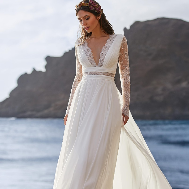Promo A Line Pleat Lace Beach Boho Wedding Dress V Neck Long Sleeves Hollow Out See Transparent Rustic 2021 Maxi Bridal Gowns Cheap