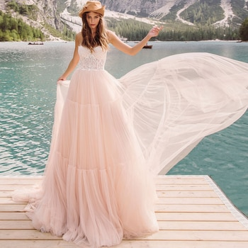 Blush Pink Tulle Lace Wedding Dress Two Pieces Hollow Sexy Strapless Photoshoot Cap Sleeves Princess Luxury Bridal Party Gowns