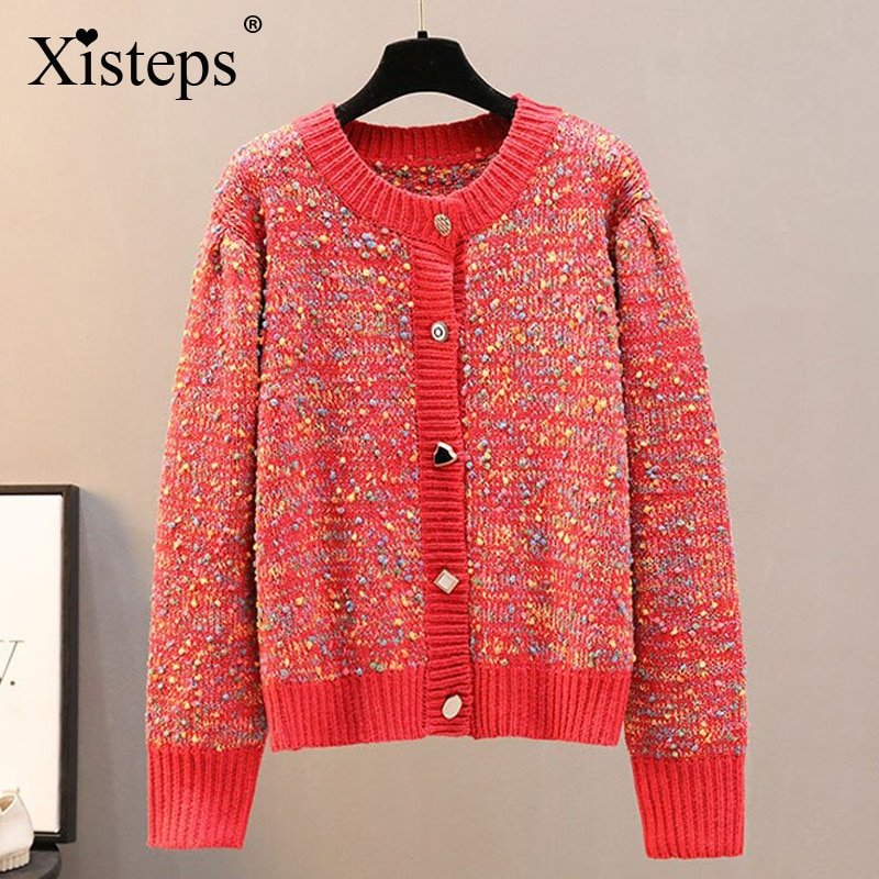 Xisteps Chic Knitted Ladies Sweater Colorful Printed Women Cardigen Contrast Color O Neck Long Sleeve Autumn 2020 Outwear Coat chic round neck long sleeve beaded coat for women