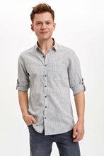 DeFacto Man Long Sleeve Shirt Men's Light Grey Shirts Men's Smart Casual Top Shirts Men's Solid Color Shirts-N9066AZ20SM