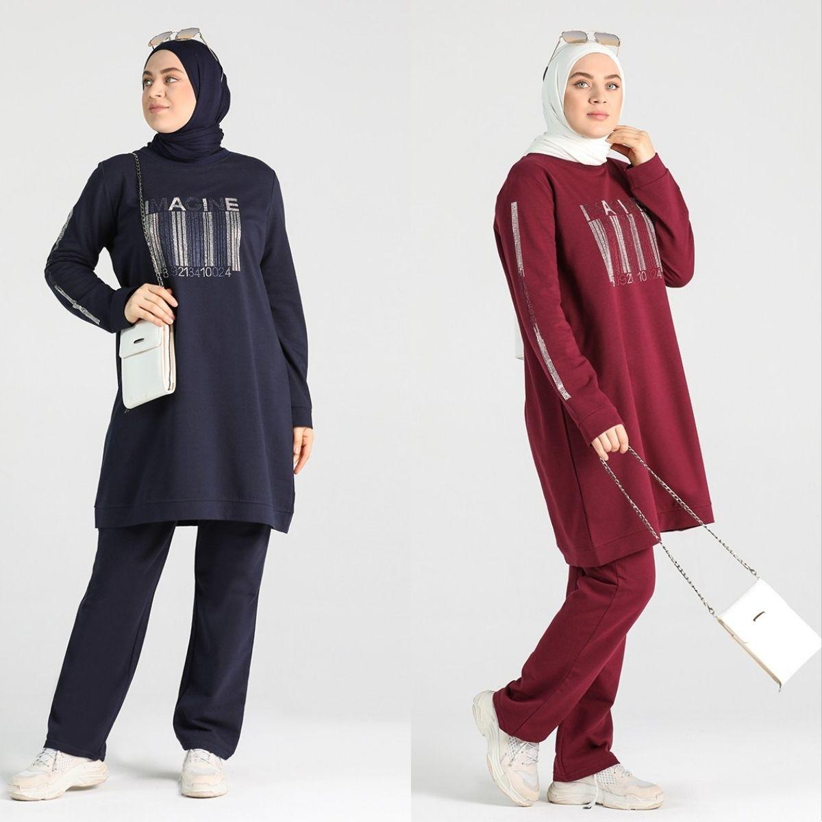 كبير حجم الحجر مطبوعة رياضية شقة غير المبطنة طويل كم الصفر طوق 4 الموسم النساء مسلم الأزياء الحجاب الملابس الرياضية استخدام
