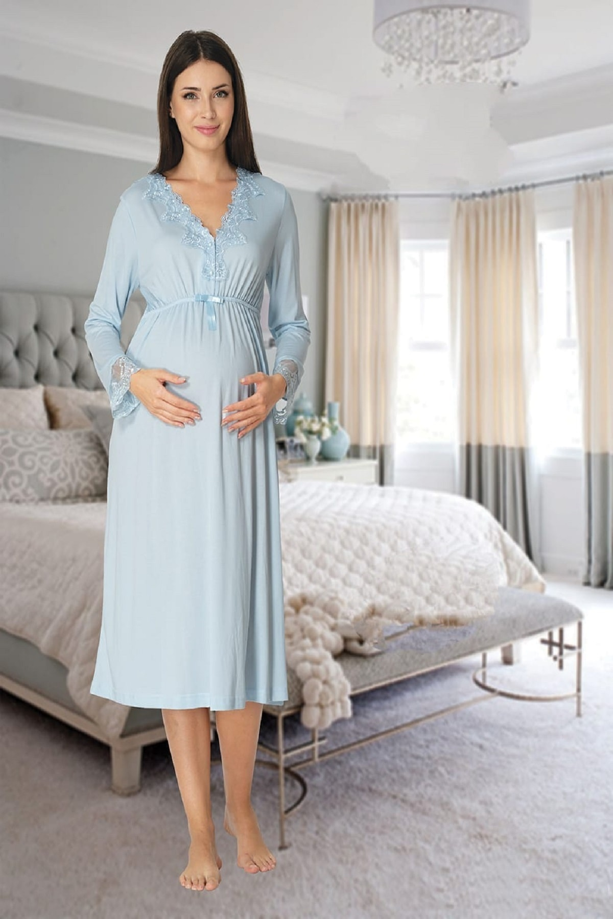 Women's Blue Long-Sleeve Pajamas Set Nightgown Dressing Gown Puerperal Maternity 4'lü Set enlarge