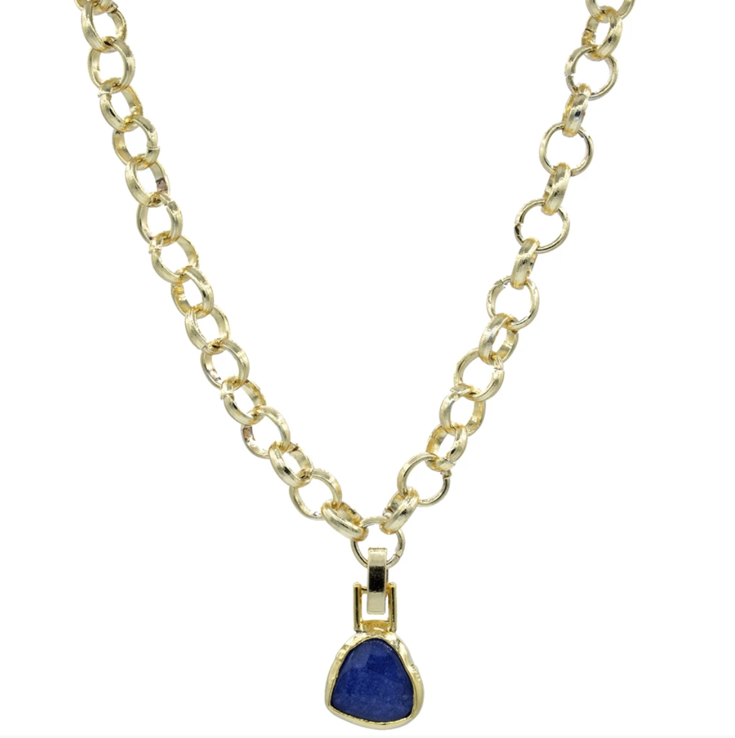 GULCE DERELI, NAVY BLUE NATURAL STONE NECKLACE, CHAIN NECKLACE, GIFT BOX, GOLD/SILVER PLATED