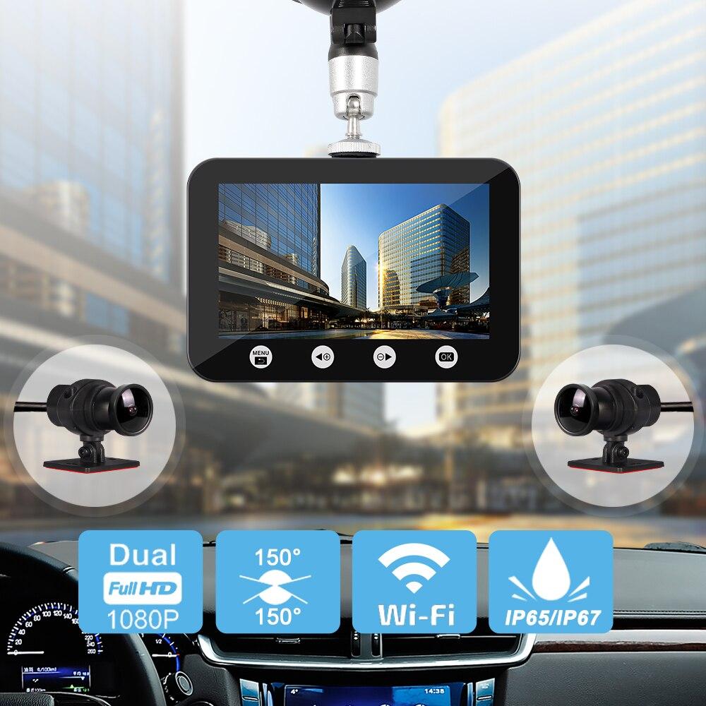 Sys dupla 1080 p carro dvr wifi sony imx323 com 2 separados frente vista traseira visão noturna câmeras à prova dwaterproof água gravador de vídeo traço cam