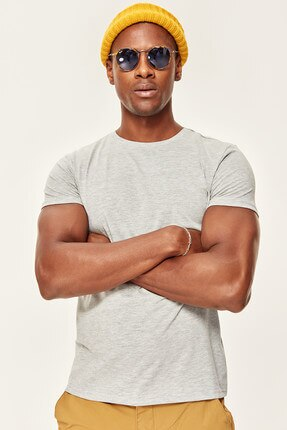 Camiseta gris a presión, cuello de manga corta, algodón TMNSS19BO0001