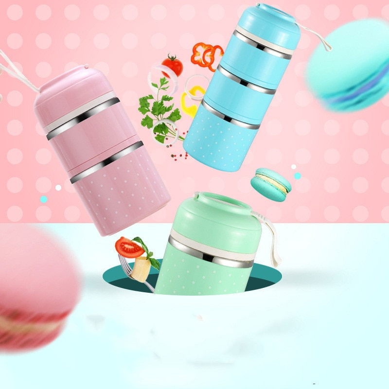 Fiambrera térmica japonesa bonita de 3 niveles, caja Bento de acero inoxidable a prueba de fugas, bolso para guardar comida de Picnic portátil para niños