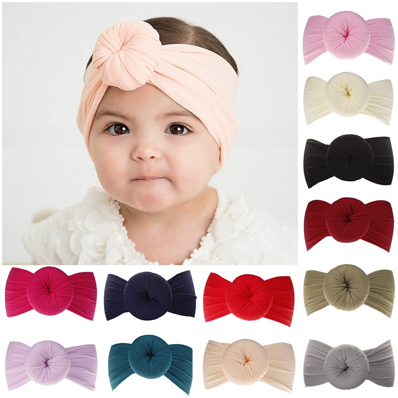 Sale 1PC Cute Baby Headband High Quality Girls Headwear Hair Accessories Soild color Stretch Hairband
