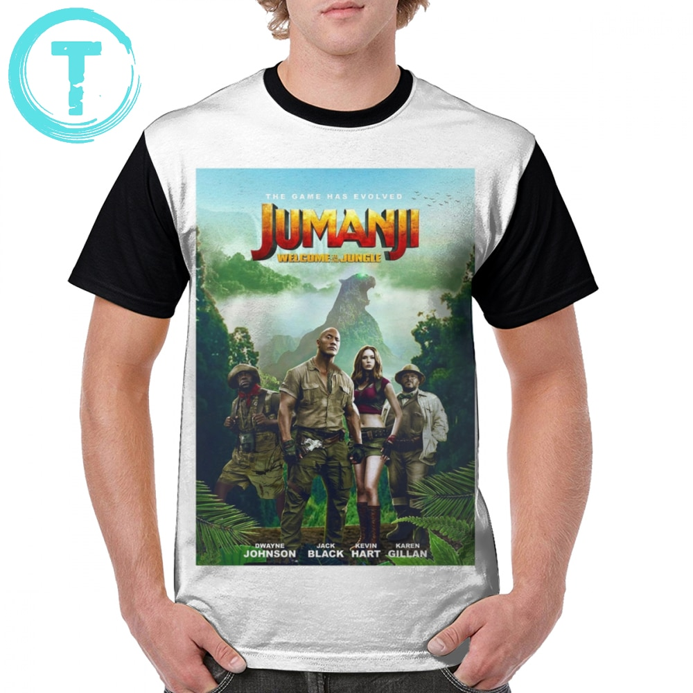 Camiseta Jumanji, camiseta Jumanji, camiseta gráfica de poliéster, camiseta para hombre de manga corta con gráfico de talla grande, camiseta bonita