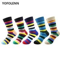 5 pairs mens combed cotton crew socks colorful funny happy socks wedding casual sock cool gift harajuku sokken