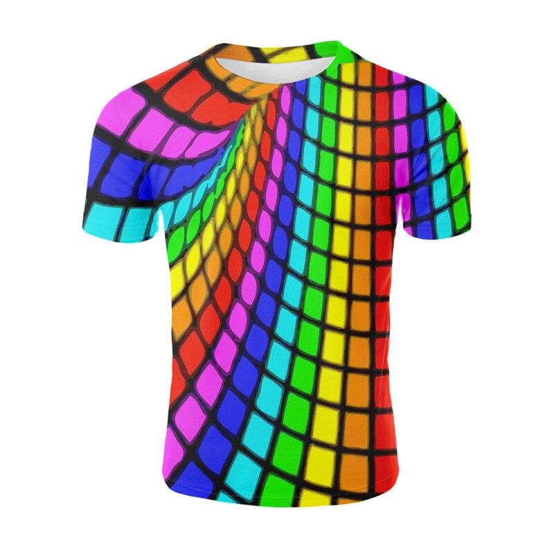 Quadrados coloridos 3D T-shirt Verão Casual Cool Anime Engraçado T Camisa Dos Homens Das Mulheres 2019 Novos topos Streetwear Tshirt Homme
