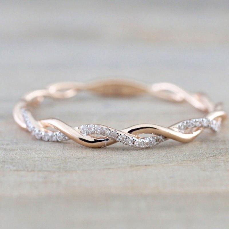 ¡OFERTA DE 2019! Anillos de cristal retorcidos para mujer, finos, de Color rosa dorado, con cuerda para apilar, anillos de compromiso para bodas, triangulación de envíos
