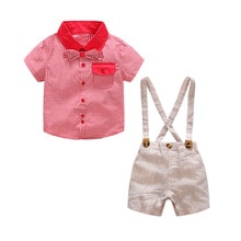 Roupas Infantis Carters Newborn Baby Boy Cotton Summer Romper Clothes Set 1 2 3 Years Jumpsuit +plaid Shorts Outfits Clothing