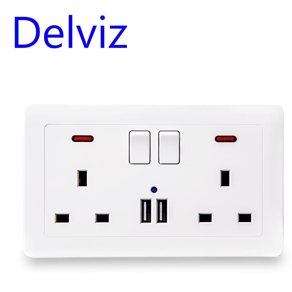 Toma de corriente de pared Delviz + orificio USB, salida 13A estándar del Reino Unido, Cargador USB de doble puerto 5V2.1A, indicador LED, 146mm * 86mm, contro On-off