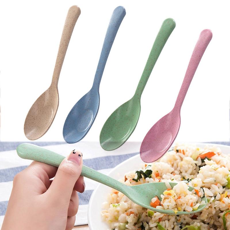 Vajilla gran oferta 1 pieza paja de trigo Popular respetuoso con el medio ambiente accesorios de cocina de alta calidad restaurante nueva cuchara portátil