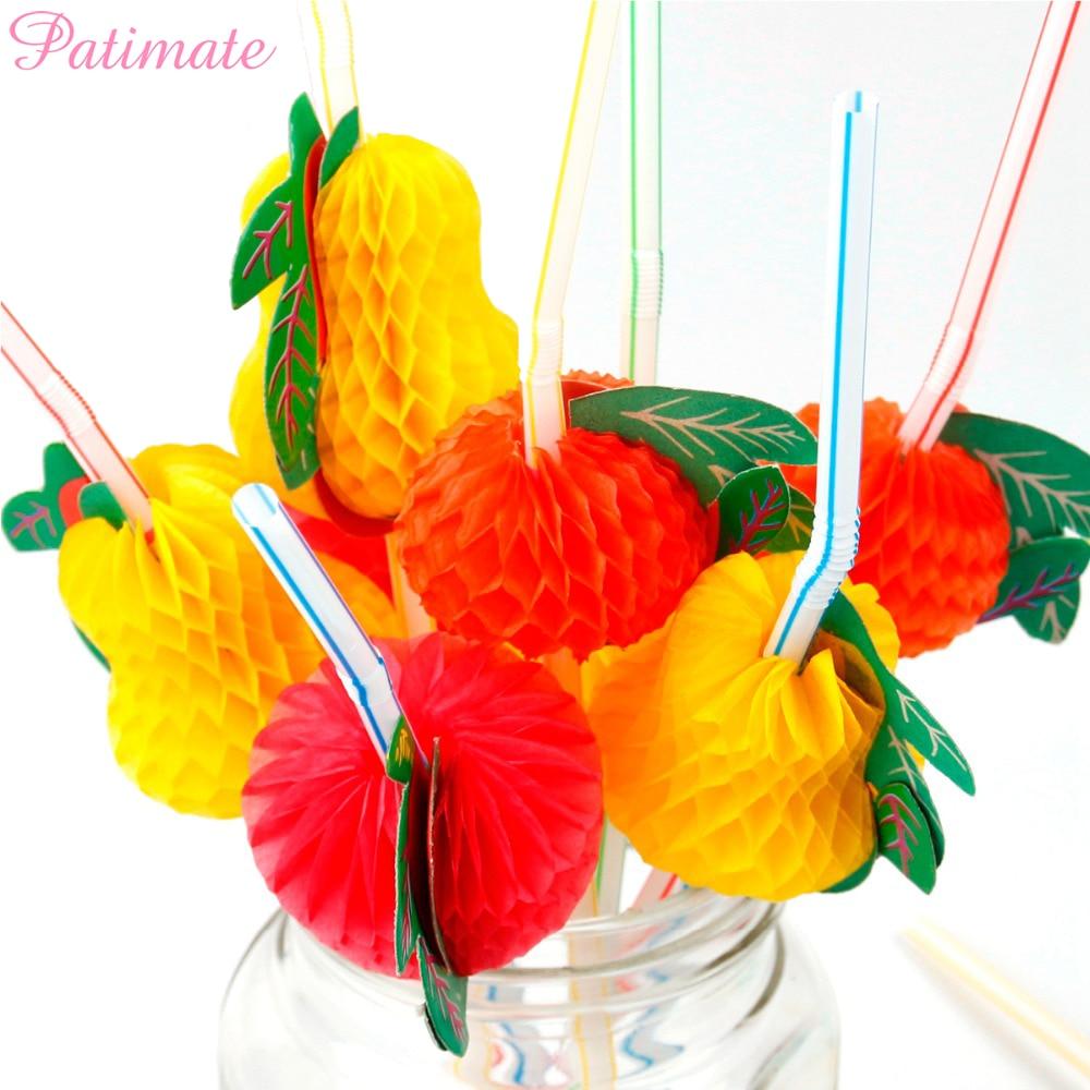 PATIMATE 50 piezas, pajitas flexibles para fiesta, pajitas de plástico para bebidas, Fiesta Temática Hawaianas, Decoración de cumpleaños y boda