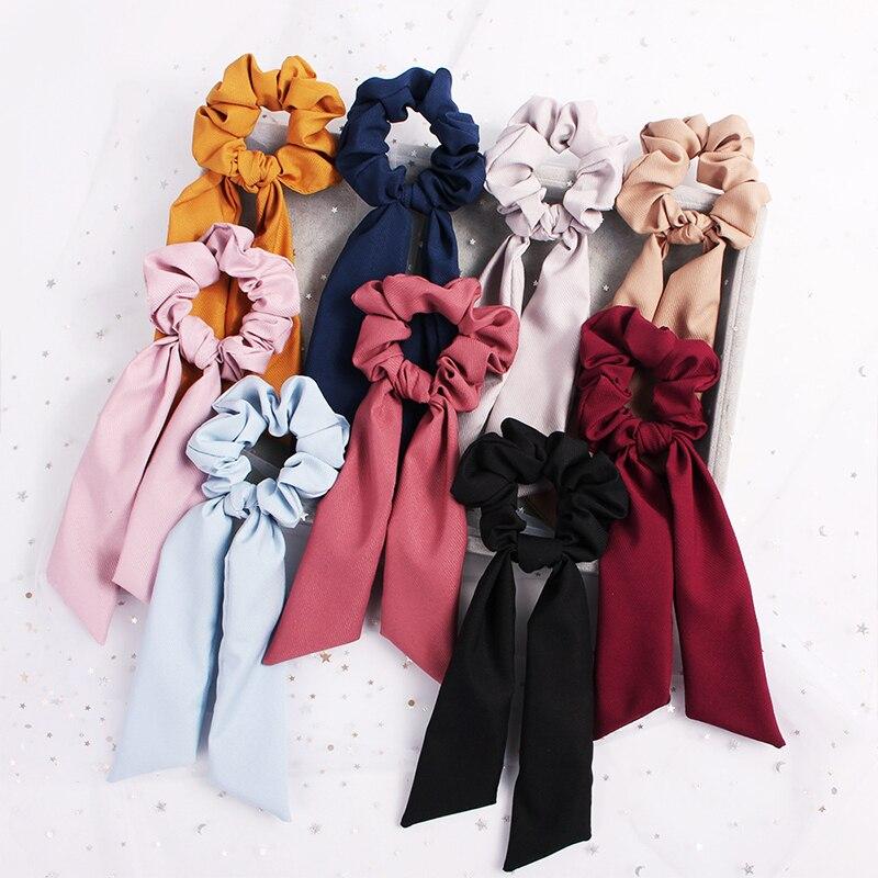 Горячий лук стримеры кольцо для волос модные Ленточные резинки для волос резинки конский хвост галстук однотонный цветной головной убор аксессуары для волос для девочек