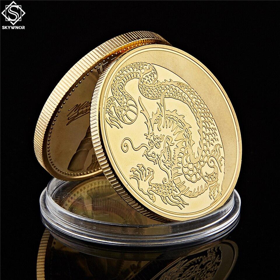 2019 venta al por menor Rusia Zodiaco dragón mosca oro plateado moneda Animal Loong Rubles aleación chapa de monedas artesanales