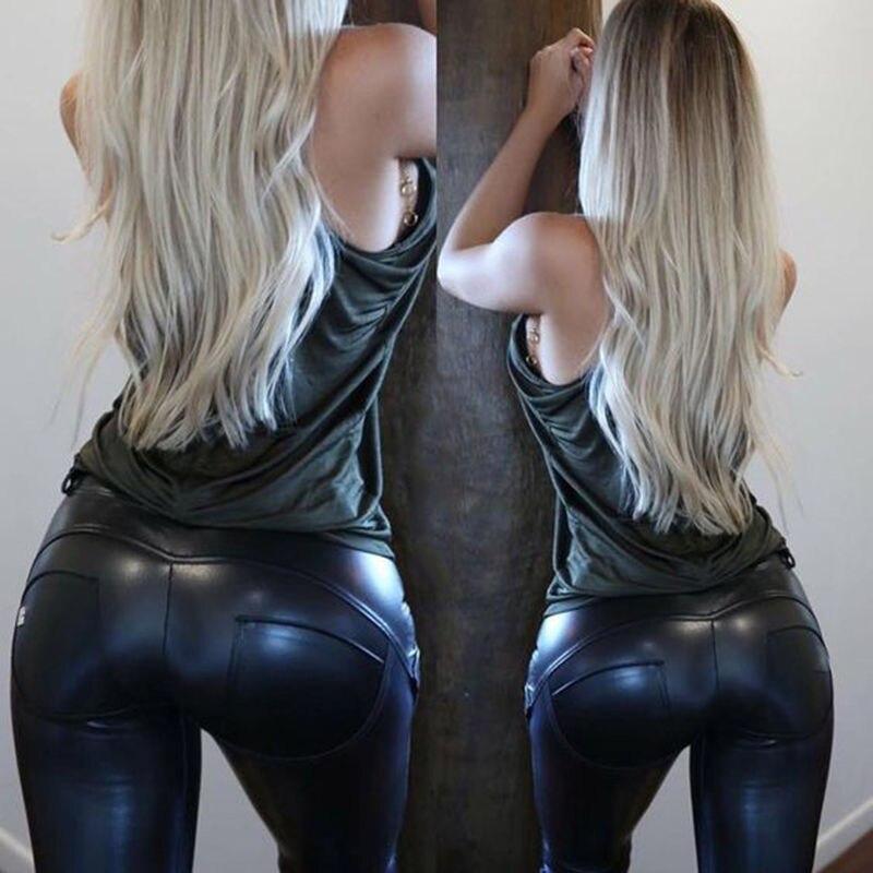 2019 neue PU Leder Leggings Frauen Stilvolle Hosen Wet Look Hosen Damen Push Up Büste Hosen Dünne Capris Plus Größe