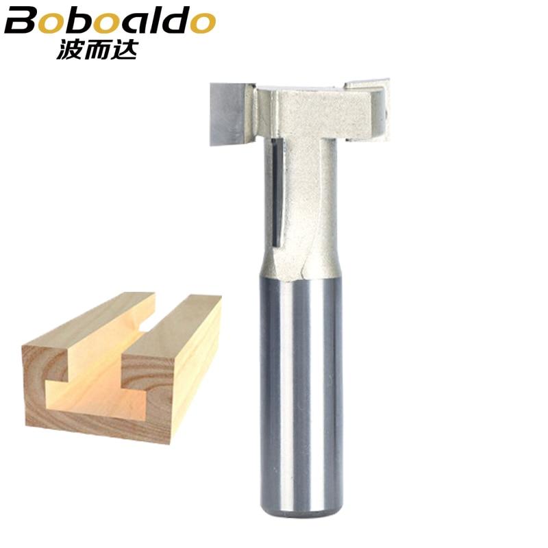 Boboaldo, 1 pieza, 1/4, 1/2, vástago tipo T, cortador de carpintería, cortador de borde de grabado, Router, Bit, cajón de cuchillos, cortador tipo T para madera