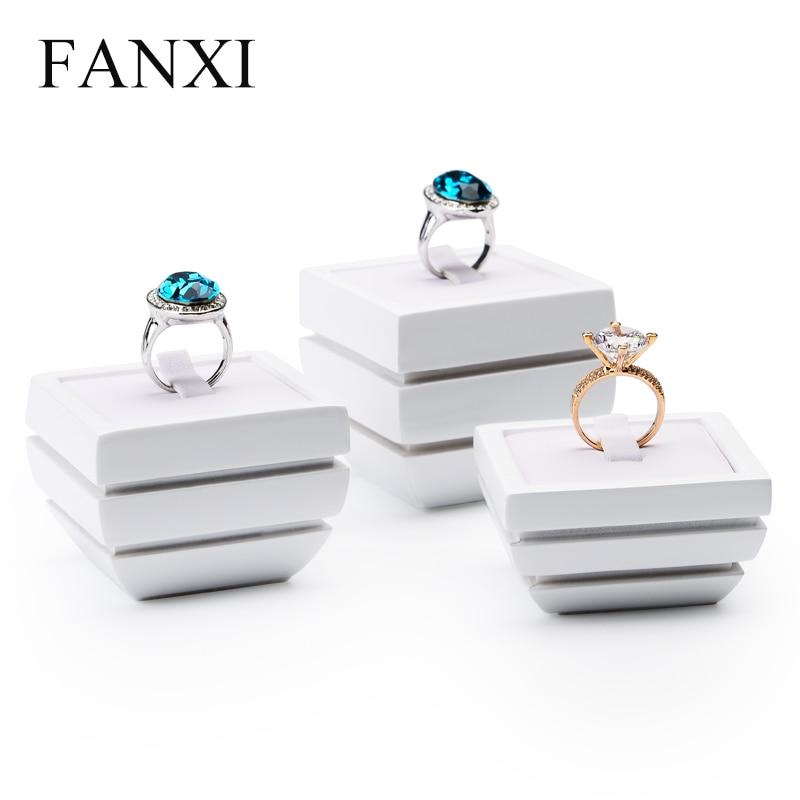 Soporte para presentación de joyería FANXI de resina blanca, anillo, pulsera, pendiente, Expositor de joyería, escaparate de tienda