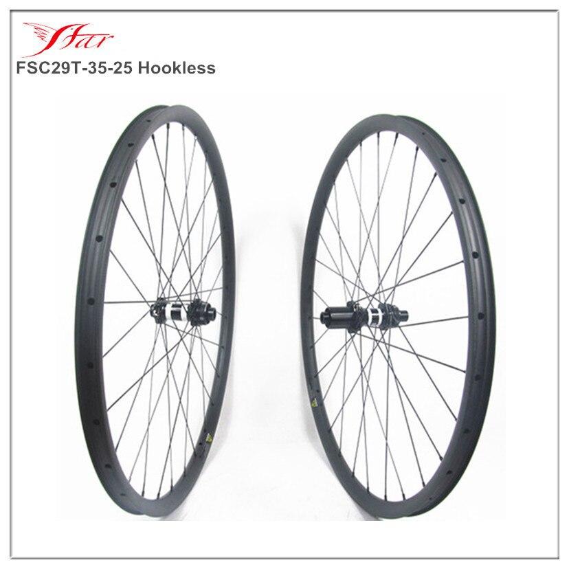 ¡Vendedor caliente! 29er juego de ruedas de carbono para bicicleta de montaña de 35mm de ancho para todos los montar en montaña, DT 350s SP, cerradura central 28 H/28 H