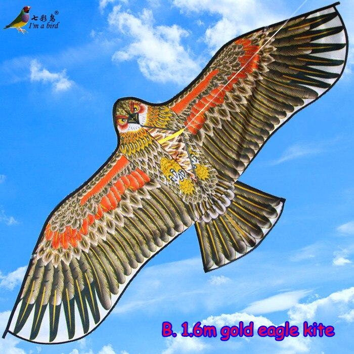 Cometa de águila de alta calidad para deportes al aire libre, 1,5 m, con mango y línea de 30m, fácil Control, 100% voladora, Original de fábrica