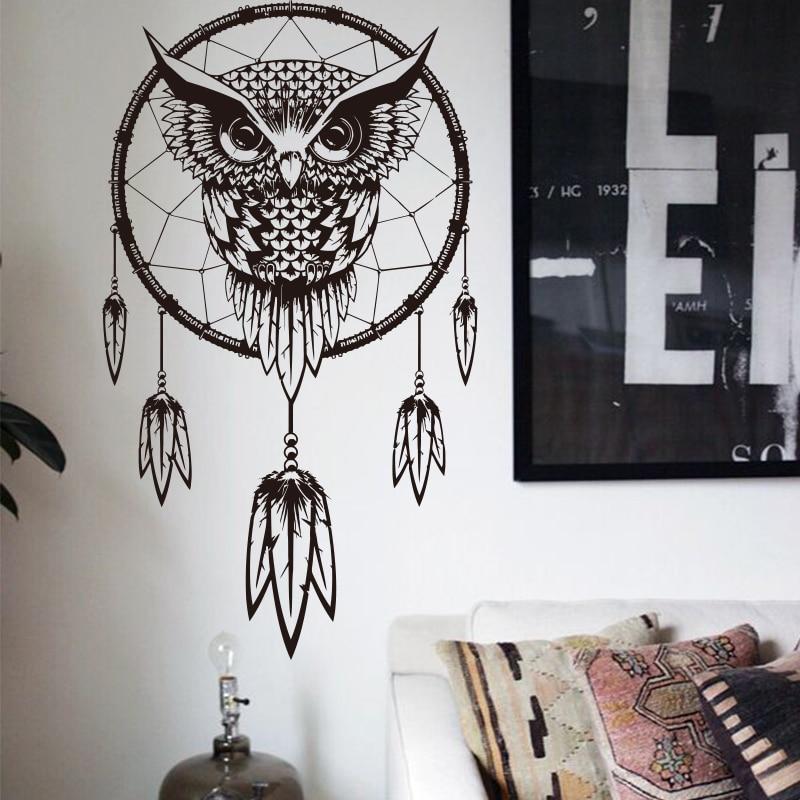 Художественный дизайн, индийский Ловец снов, Декор, сделай сам, настенный стикер, наклейки «Сова», виниловые фотообои, наклейки на стену с жи...