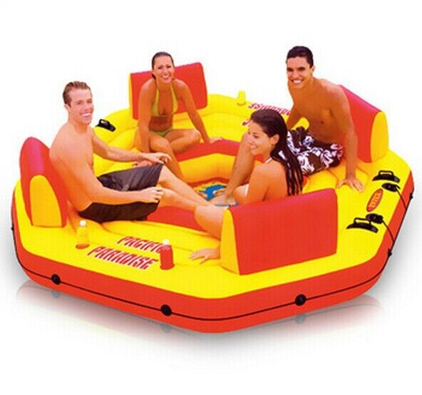 Intex swimming pool 4persons Inflatable Water float  for family party water island water sports size 254*254*6cm