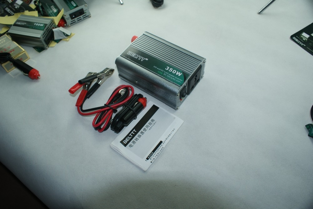 ¡Envío gratis! inversor de potencia de onda sinusoidal modificado de 350 vatios portátil para el hogar DC 12V a AC 240V convertidor + USB
