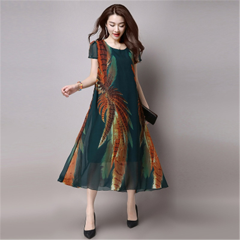 2020 HOT 6XL New Middle-aged Plus Size Women's Summer O-neck Print Chiffon Long Dress Fashion Loose Chiffon Dress 12Color C8