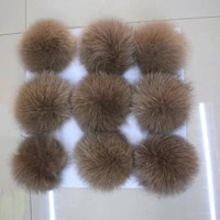 football shape fox tail fur ball real fox fur ball keychain