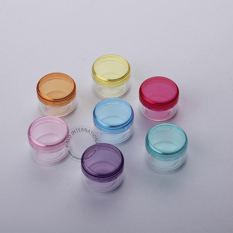 100 sztuk/partia 5g mały plastikowy słoik pojemniki próbkowe 5 Gram puste opakowania kosmetyczne garnek do Nail Art podział ładowania pojemnika