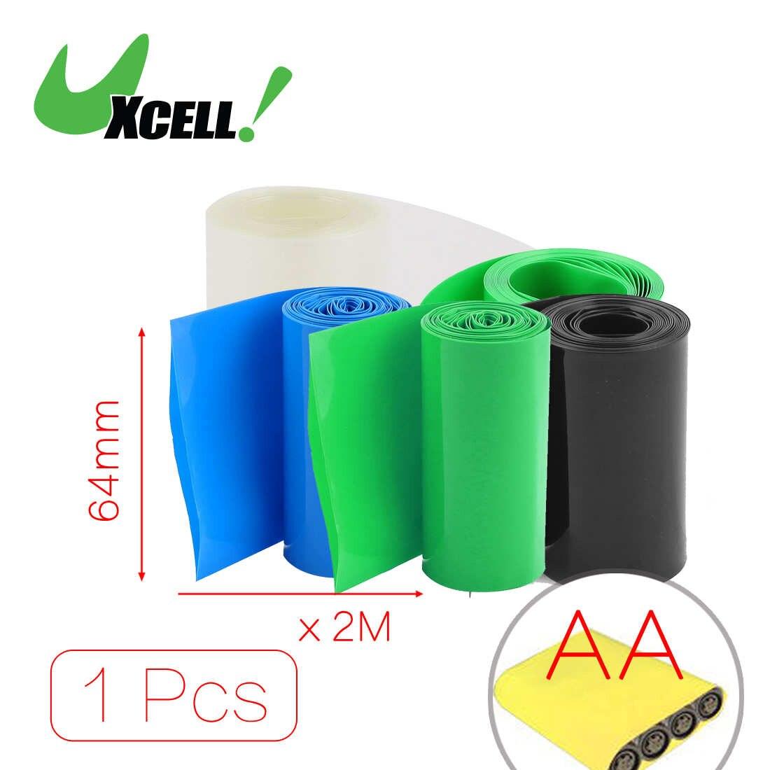 Uxcell 1 Uds 2 metros 64mm 67mm 70mm ancho Pvc tubo de plástico termorretráctil negro para paquete de baterías AA Negro Azul verde claro