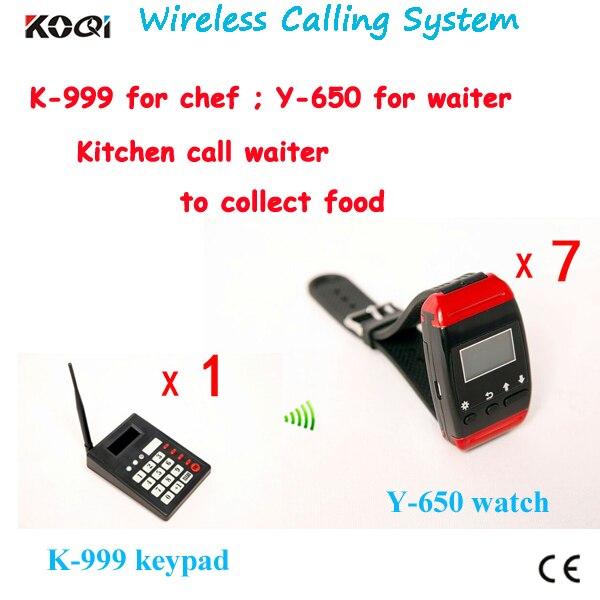 Kitchen call waiter system restaurant paging system K-999 keyboard with Y-650 waiter watch