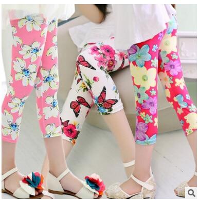 ¡Novedad de 2020! leggings elásticos multicolor de seda de leche de verano para niñas, pantalón transpirable, Leggings para niñas