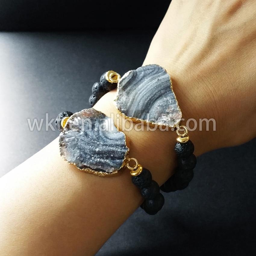 WT-B222 Stylish  black lava vesuvianite flexible beads bracelet fashion jewelry bracelet for women