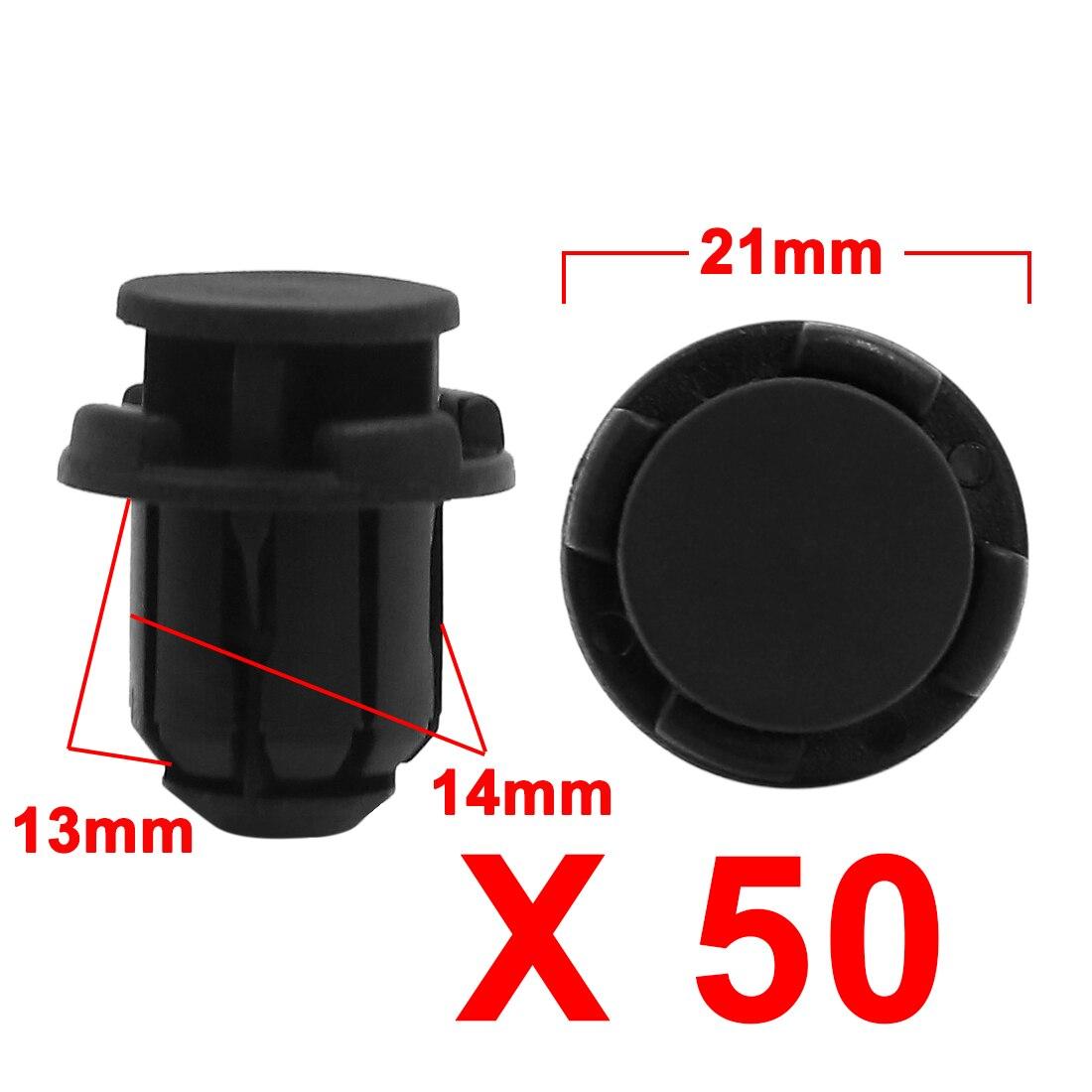 X Autohaux 50 Uds remaches negros de parachoques de coche Clips de plástico sujetadores 14Mm diámetro del agujero