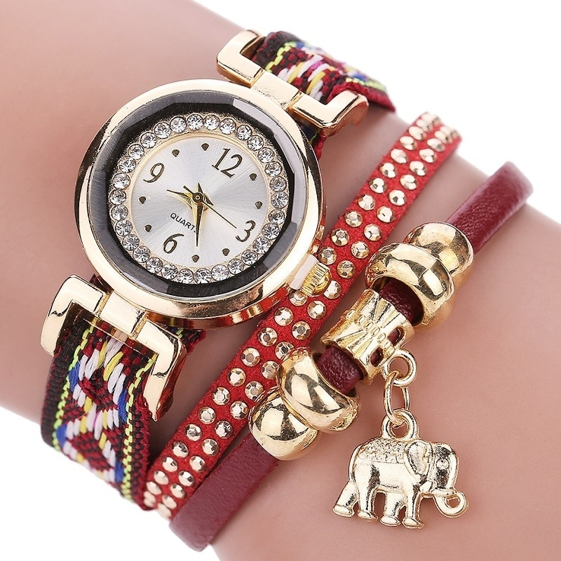 Gnova, parte superior de platino, correa de tela étnica, reloj para mujer, elefante de diamantes de imitación, encanto dorado, moda india, reloj de pulsera elegante para chica A500